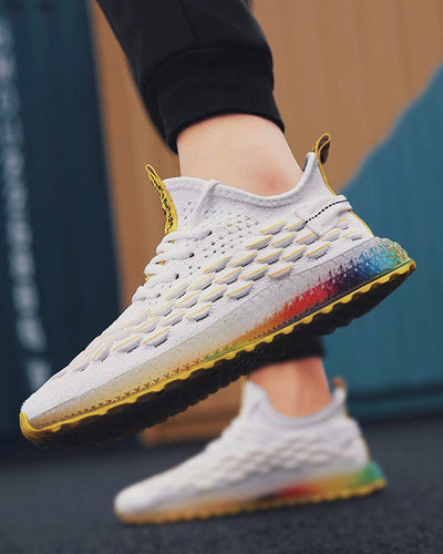 Colorblock Lace-Up Breathable Mesh Upper Sneakers