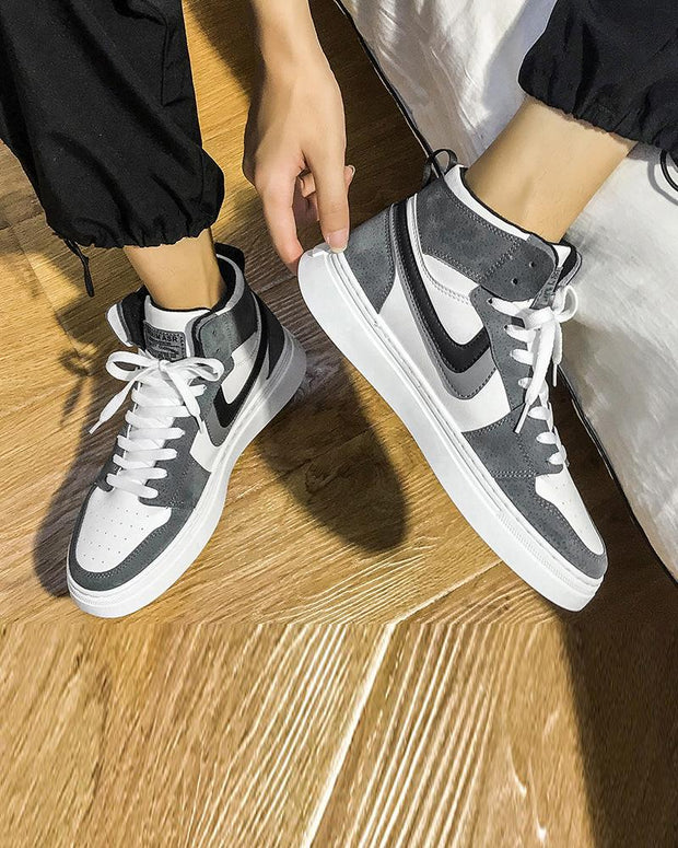 Lace-up Splicing Color Block Round-toe Sneakers