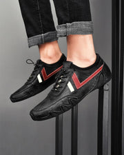 Lace-up Color Block Round-toe Leather Sneakers
