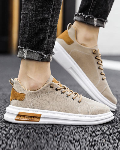 Solid Round-toe Lace-up Sneakers