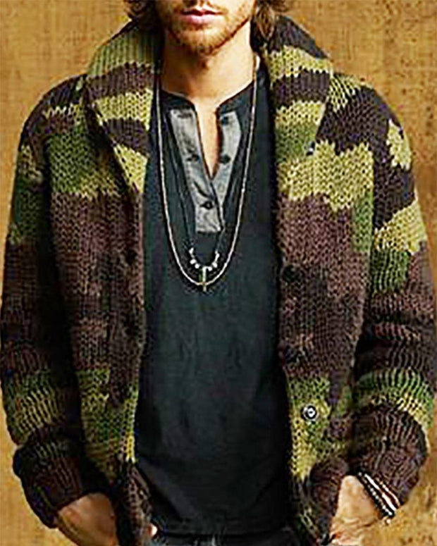 Camouflage Print Long Sleeve Cardigan