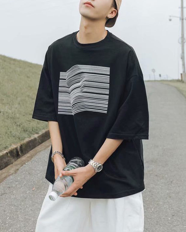 Striped Print Short Sleeve T-shirt