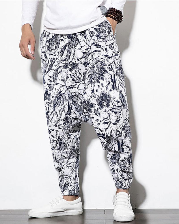 Retro Printing Loose Bloomer Harem Pants