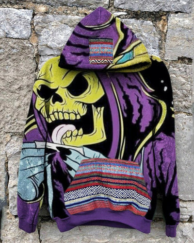Punk Skeleton Patterns Print Long Sleeve Loose Hooded Sweatshirts