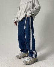 Solid Color Striped Side Straight Baggy Jean Pants