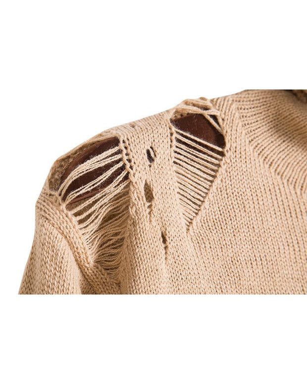 Solid Long Sleeve Knitted Ripped Sweater