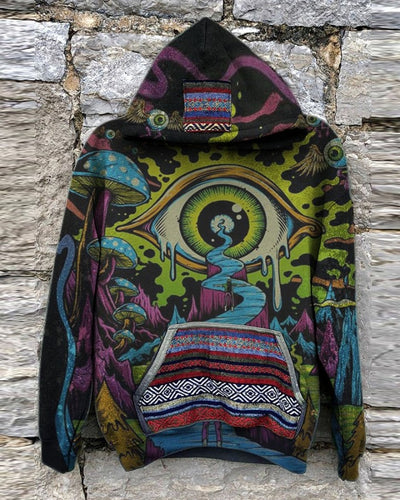 Vintage Punk Eye Print Long Sleeve Hooded Sweatshirts
