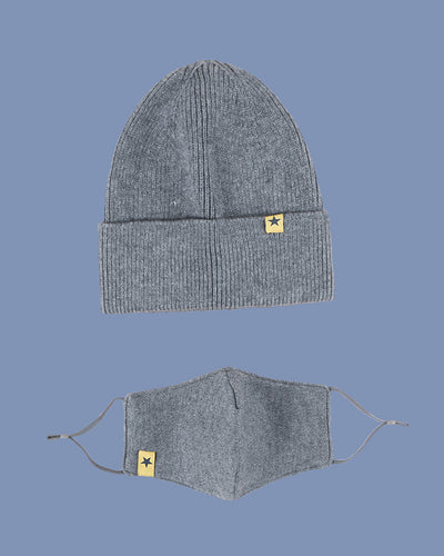 Solid Color Knitted Hedging Cap And Mask