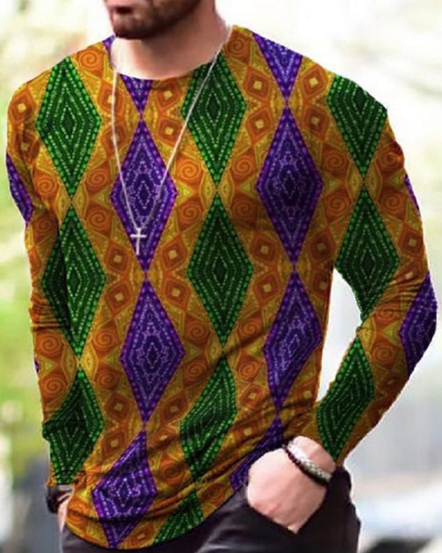 Retro Patterns Print Long Sleeve T-shirts