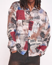 Newspaper Printing Long Sleeve Button-up Shirts