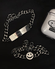 Street Smiley And Splicing Letter Square Silver Bracelet