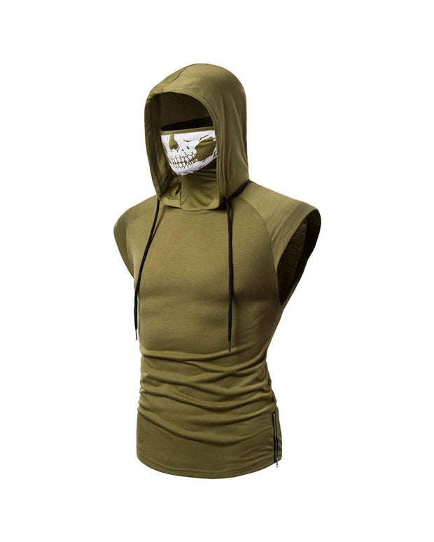 Elastic Fitness Hooded Sleeveless T-shirt