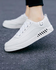 Solid Smile Logo Embroidery Round-toe Lace-up Sneakers