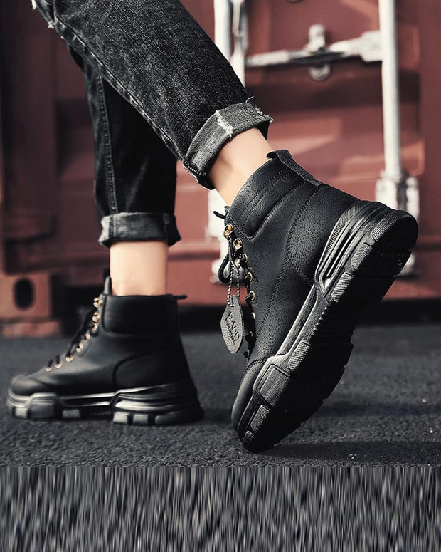 Solid Round-toe Lace-up High Top Boots