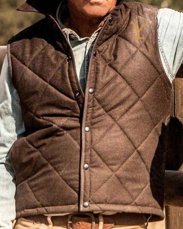 Solid Sleeveless Quilted Coats Vest