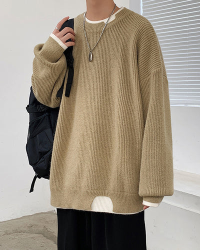 Solid Color Fake Two Piece Long Sleeve Sweater