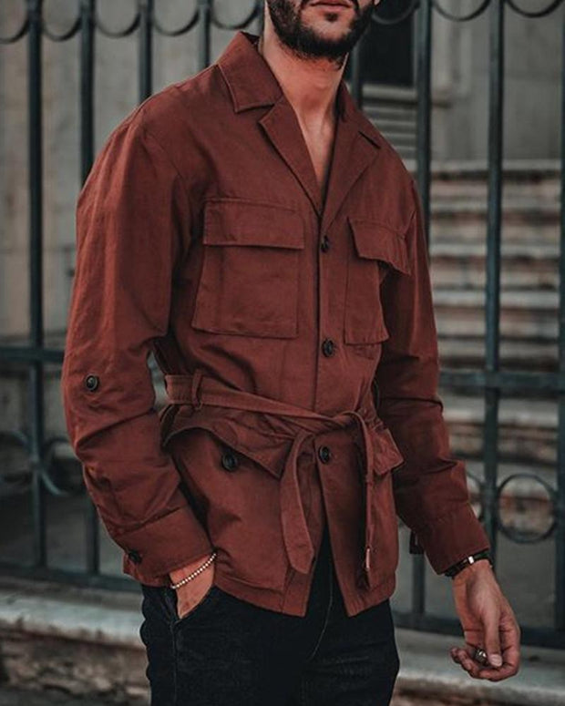 Solid Color Long Sleeve Lace-up Overshirt