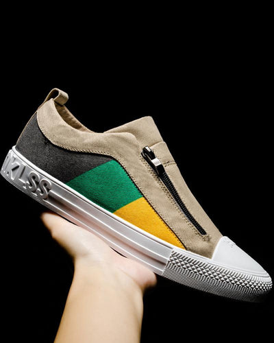 Colorblock Zipper Closure Flat Breathable Sneakers
