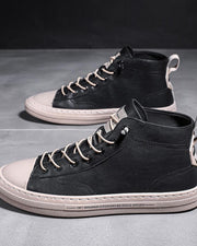 Stitching Lace-up Round-toe High Top Sneakers