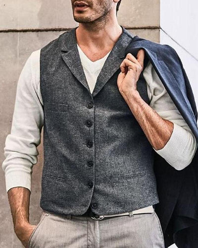 Solid Sleeveless Single Breasted Fitting Vest Coats