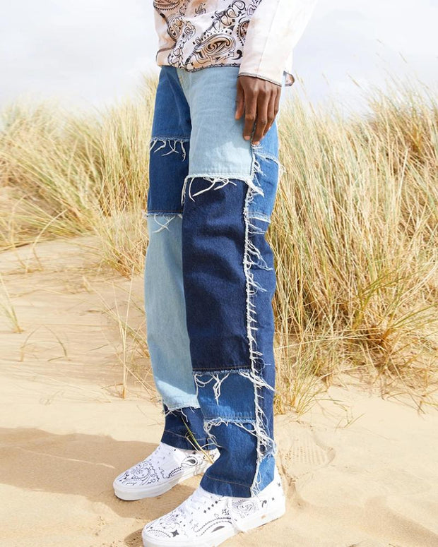 Colorblock Patchwork Wide Leg Denim Pants