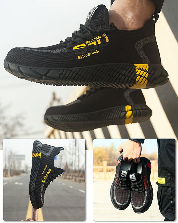 Knit Round-toe Lace-up Anti-smash Sneakers