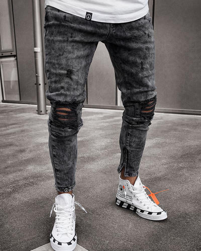 Fashionable Simple Print Ripped Jeans