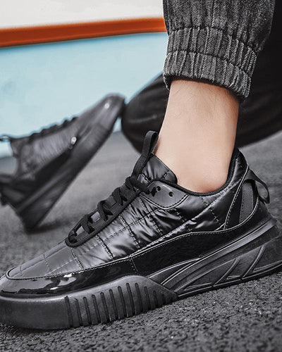 Solid Patent Leather Round-toe Flat Lace-up Sneakers