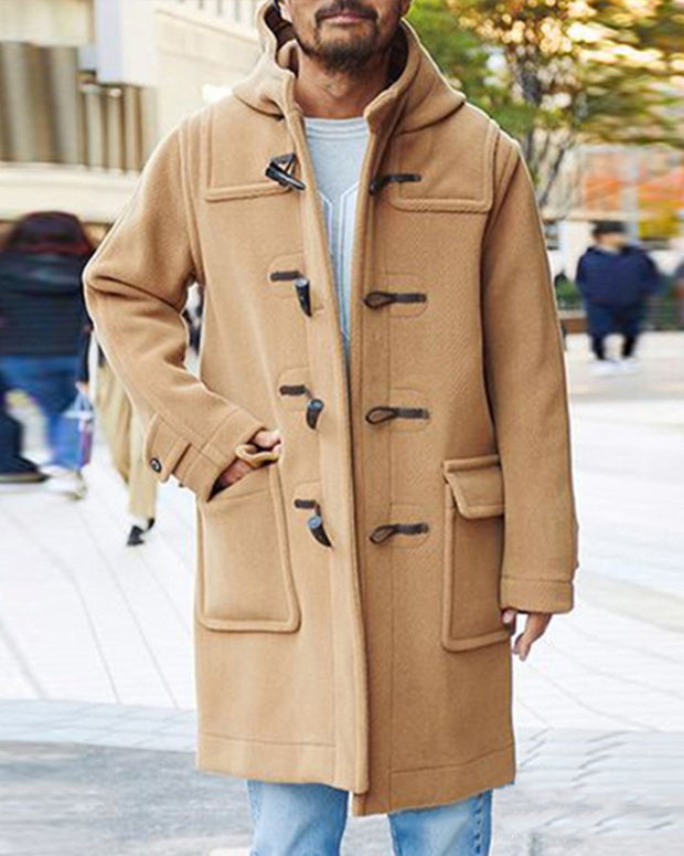 Solid Color Long Sleeve Hooded Toggle Coat
