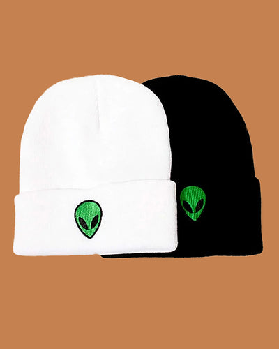 Alien Embroidery Knitted Hedging Cap
