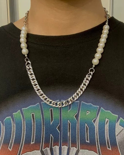 Pearl Chain Metallic Necklace