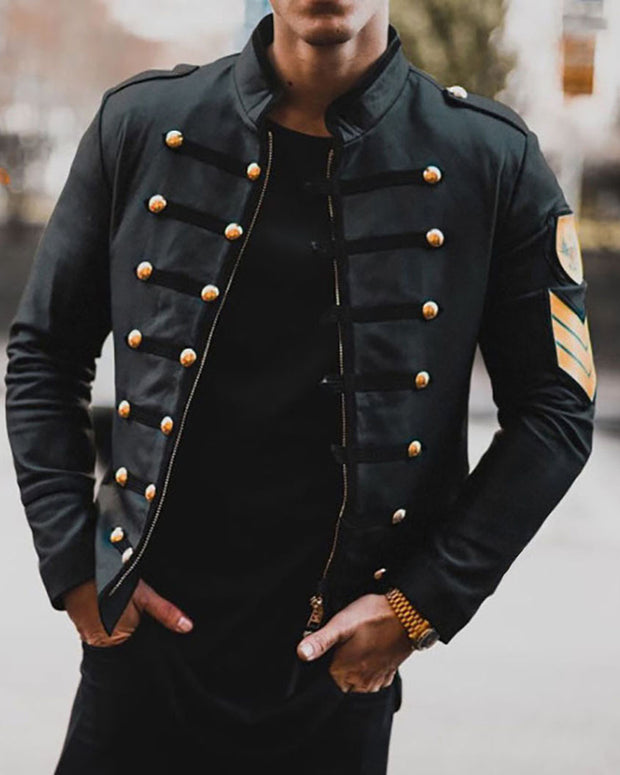 Solid Single-breasted Long Sleeve Fitting Jackets