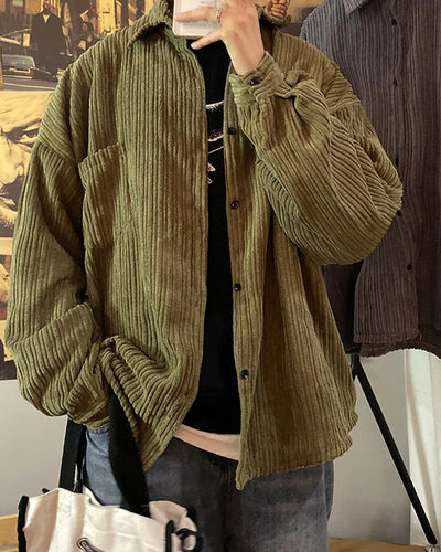 Solid Corduroy Embossing Long Sleeve Shirts Coats
