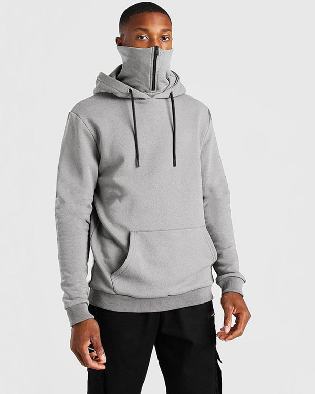 Solid Color Long Sleeve Hooded Mask Sweatshirt