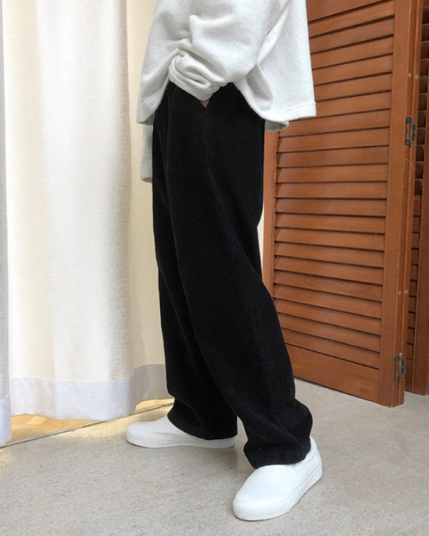 Solid Color Corduroy Straight Baggy Pants