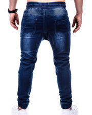 Solid Skinny Ripped Zip-up Denim Cargo Pants Jeans