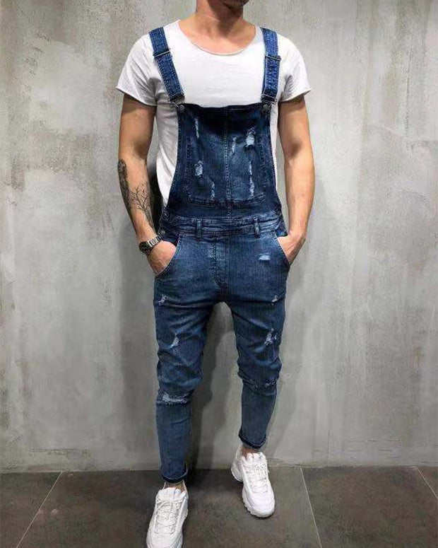 Ripped Denim Overall Jumpsuit