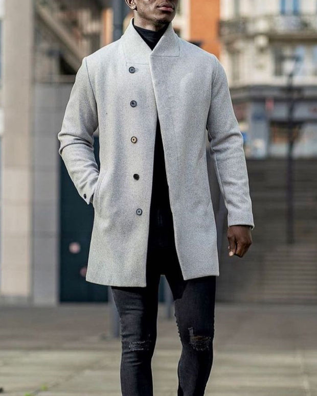 Solid Long Sleeve Loose Button-up Trench Coats