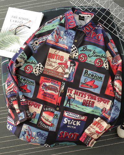 Retro Cartoon Patterns Print Long Sleeve Shirt