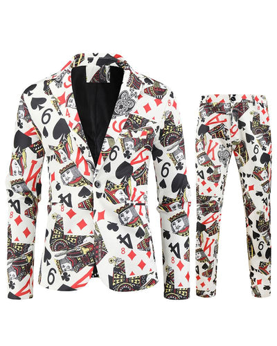 Poker 3D Print Long Sleeve Fitting Suit Sets