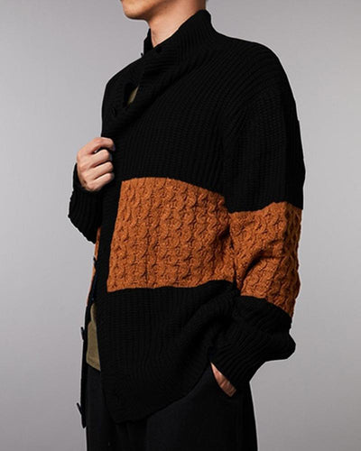 Colorblock Long Sleeve Knitted Cardigans