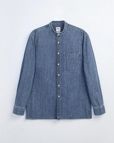 Colorblock Long Sleeve Button-down Denim Shirts