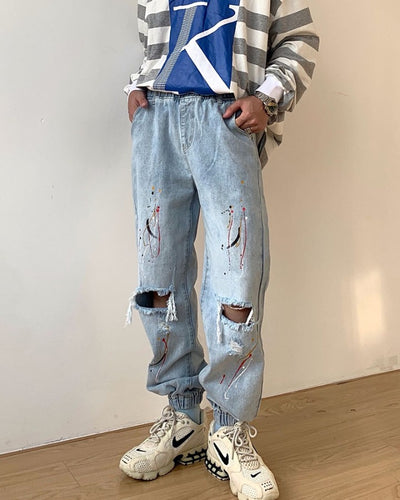 Multicolor Splash Ripped Loose Straight Denim Pants Jeans
