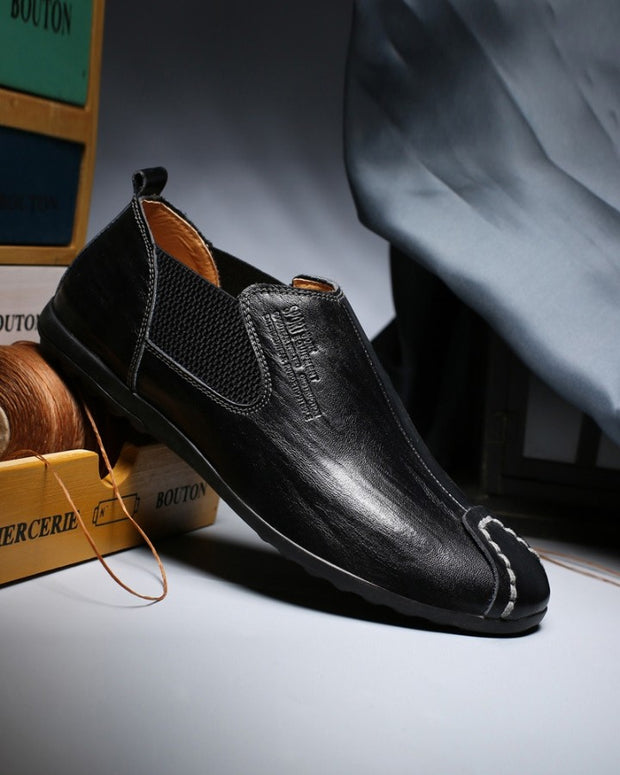 Solid Leather Round-toe Loafers