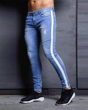 Solid Color Skinny Pencil Ripped Jean Pants