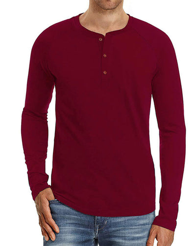 Solid Color Splicing Buttons Long Sleeve Polo Shirt T-shirt