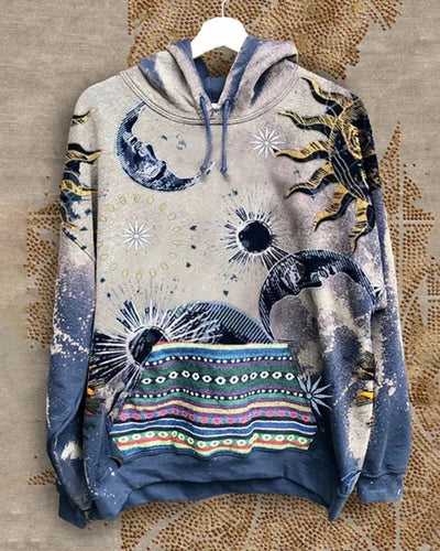 All Over Print Starry Sky Print Long Sleeve Hooded Sweatshirt