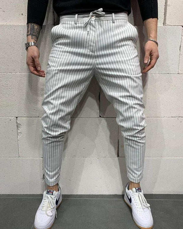 Striped Tie Waist Stretch Pants