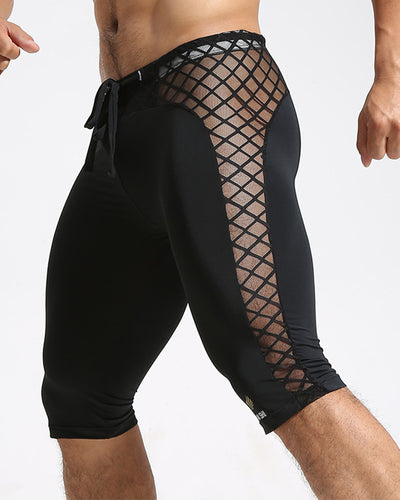Solid Color Fishnet Skinny Drawstring Sport Short Pants