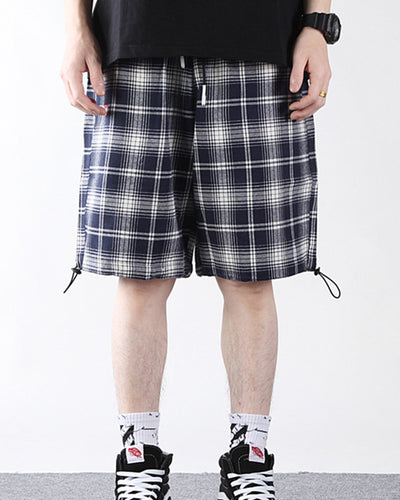 Plaid Print Loose Ruched Carpenter Short Pants